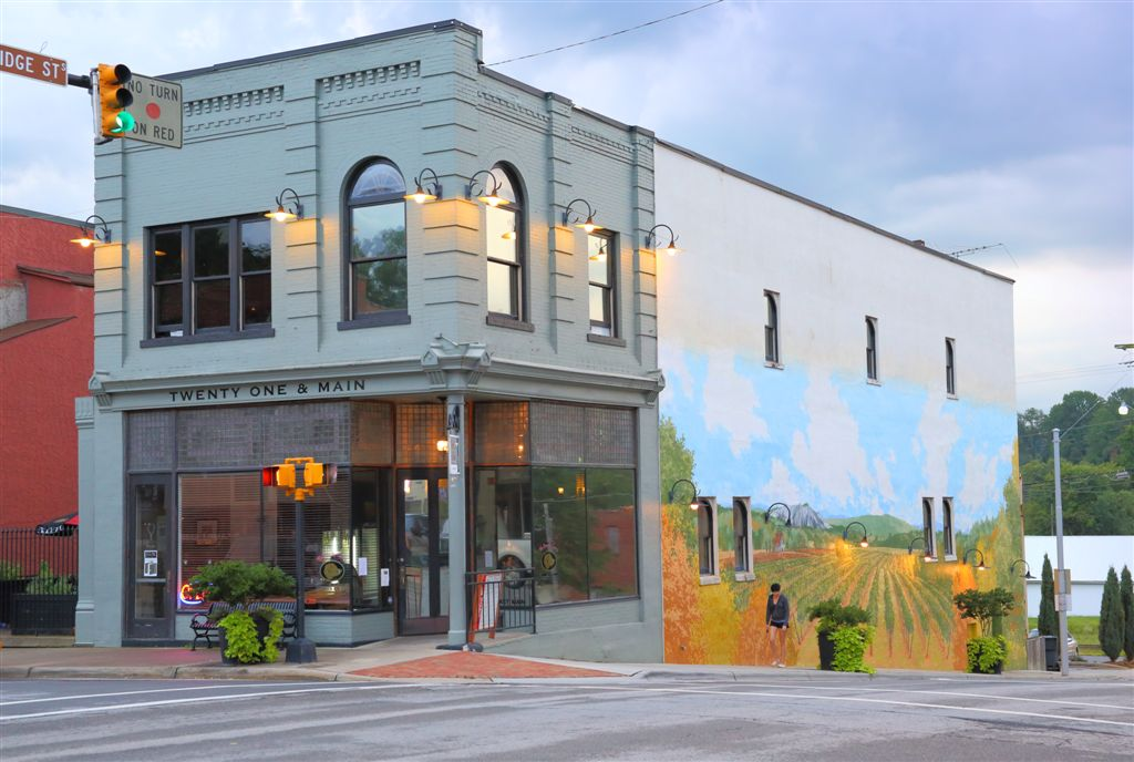 elkin, downtown, mural